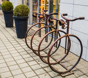 Parking for bicycles made of iron. Lviv Royalty Free Stock Photos