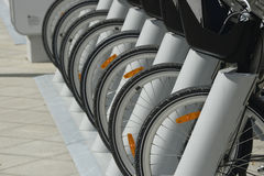 Parking of bicycles in Moscow. 2014 Royalty Free Stock Photos