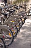 Parking of bicycles in Paris Royalty Free Stock Image