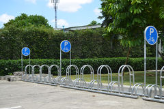 Parking of bicycles. In the park Stock Photos