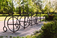 Parking for bicycles in the park. royalty free stock photos