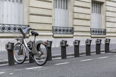 Parking of bicycles for rent in Paris Royalty Free Stock Photos