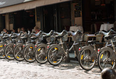 Parking of bicycles for rent on the streets of Paris Royalty Free Stock Photography