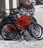 Parking of Bicycles On Sidewalk Royalty Free Stock Images