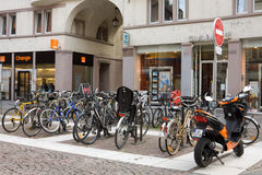 A parking of bicycles in Strasbourg city Royalty Free Stock Image