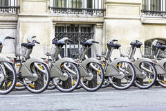 Parking of bicycles on the streets of Paris Royalty Free Stock Images