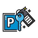 Parking black outline icon sharing economy concept colorful Stock Photography