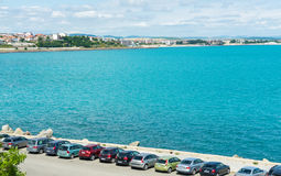 Parking on the Black Sea coast in the old Nessebar, Bulgaria Royalty Free Stock Images