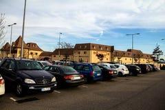 Parking blisko Stylowych ujść Roppenheim Francja Fotografia Stock