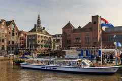Parking boats at the port on the canal in Amsterdam Stock Image
