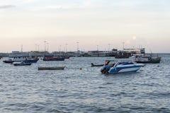 Parking boats at sea. Royalty Free Stock Images