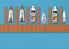 Parking for boats top view. 3d rendering Royalty Free Stock Image