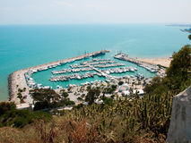 Parking for boats in Tunisia. View of the sea area with parking for yachts in Tunisia Stock Images