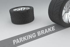 Parking Brake concept. 3D illustration of PARKING BRAKE title with two tires as a background Stock Photography