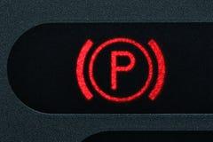Parking brake control light Royalty Free Stock Images