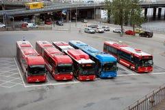 Parking buses in Stockholm. STOCKHOLM, SWEDEN - JULY 10, 2012 - Parking buses in Stockholm, Sweden. View from top Stock Image