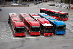 Parking buses in Stockholm Royalty Free Stock Image