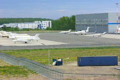 The parking of business jets in Pulkovo International airport in Saint-Petersburg, Russia Stock Images