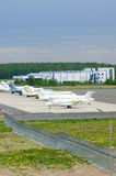 The parking of business jets in Pulkovo International airport in Saint-Petersburg, Russia Royalty Free Stock Photos