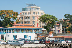 Parking, cafes and hotel on the Black Sea coast in Pomorie Stock Image