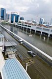 Parking car in flood Royalty Free Stock Photography
