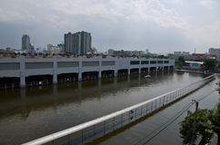 Parking car in flood Stock Photos
