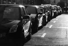 Parking cars. Some of parking cars in black&white Stock Photo