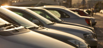Parking cars. In beautiful sunshine Stock Photography
