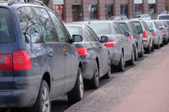 Parking cars in Helsinki Royalty Free Stock Photo