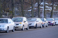 The parking cars in Helsinki Royalty Free Stock Photos