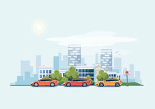 Free Parking Cars On The Street With City Background Stock Photos - 86389123