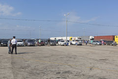 Parking of cars waiting for loading on ferries of the Kerch crossing from the port of Caucasus Royalty Free Stock Photos