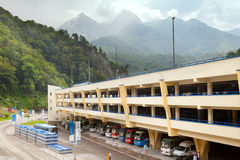 Parking in Caucasus mounains Royalty Free Stock Photos
