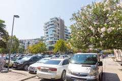 Parking in the center of Budva in Montenegro Royalty Free Stock Photo