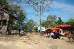 Parking and Checkpoint of Preah Vihear Temple, Cambodia royalty free stock image