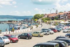 Parking on the city embankment of old Nessebar in Bulgaria Stock Image