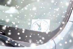 Parking clock on car dashboard Stock Photography