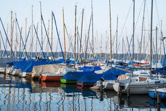 Parking colorful boats on a lake Stock Images