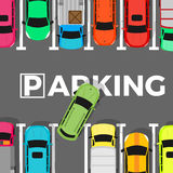 Parking Conceptual Web Banner. Car Leaves Place. Parking conceptual web banner. Car leaves the parking place. Parking lot or car park. City parking structure Royalty Free Stock Photo