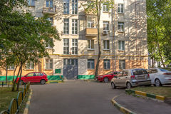 Parking in courtyard of a city apartment house Royalty Free Stock Photography
