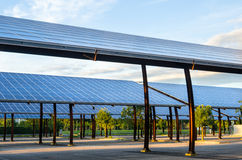 Parking Covered with Solar Panels Stock Images