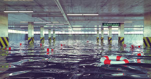 Parking d'inondation illustration de vecteur