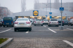 Parking de Lidl Photographie stock libre de droits