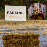 Parking direction sign on the farm Royalty Free Stock Photography