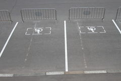 Parking for disabled guests. Signs of Parking for disabled people on the pavement, Parking blocked. Russia Royalty Free Stock Images