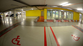Parking for the disabled people. New shopping center in the Slovak town - Parking for the disabled in the garage of the shopping centerhttp://listings-slovakia Royalty Free Stock Photos