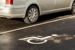 Parking for a disabled person. Royalty Free Stock Image