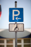 Parking for the disabled sign Stock Image
