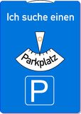 Parking disc. A parking disc with the german words for I am looking for a parking lot, symbolizes parking problems Stock Images