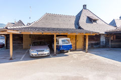 Parking in Drvengrad, Serbia royalty free stock photography